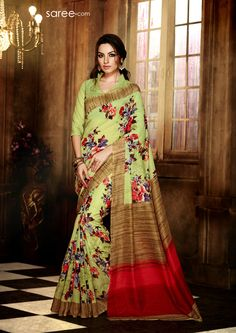 GREEN AND MULTI COLOR ART SILK PRINTED SAREE