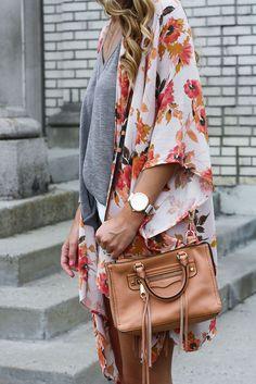 Floral Kimono c/o Morning Lavender  // Similar White Denim Shorts  // V-Neck Tank  // Rebecca Minkoff Mini Tote // 3 Disc Necklace  // T...