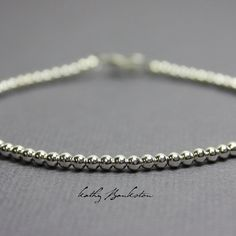 Silver Bead Bracelet Small 2.5 mm Sterling Silver Bead
