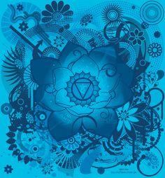 """Vishuddha   5° chakra ou chakra de la gorge : la couleur de ce chakra est le bleu. Il est en rapport avec le cycle """"donner-recevoir"""" et la communication avec autrui. C'est notre personnalité profonde. Plus nous sommes épanouis, plus ce chakra rayonne."""