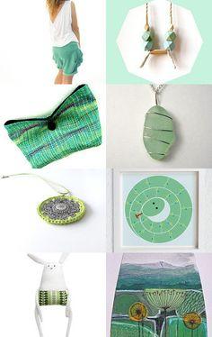 GabardineCouture featured my hand dyed green fabrics