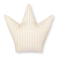 """Fit for a king or a queen, the Gold Crown Throw Pillow (15""""x15"""") Gold from Pillowfort is fun for a kid's room. This golden accent pillow has a solid back side and a front with decorative vertical stitching."""