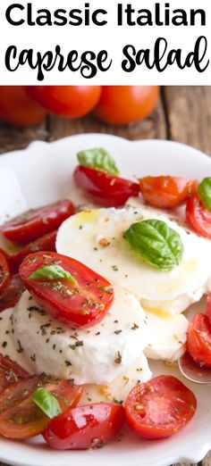 It's not summer unless you make an Italian Caprese Salad. Fresh tomatoes, mozzarella and basil never tasted so good. The perfect appetizer or main dish. Layered Taco Salads, Winter Salad Recipes, Caprese Salad Recipe, Grilled Chicken Salad, Main Dish Salads, Best Appetizers, Italian Recipes, Tomatoes, Basil