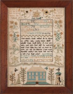 Lucy M. Beecher, Woodbridge, Connecticut, 1808. Love the colors! A pretty sampler. Wish it could be reproduced - it would be fun to stitch.