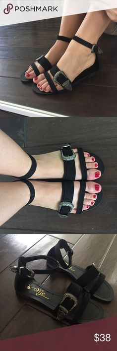 🆕 Black Buckle Up Sandals These sandals are 😍😍😍. Very free people like. Comfortable and adjustable straps. The buckle detail looks amazing and very detailed. Modeling a 7.5 and I am am true 7.5, runs true to size. 🖤 Head to toe outfit available for sale 🖤  Please use the self checkout or add to a bundle feature! ❌⭕️❌⭕️ Shoes Sandals