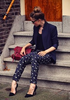 Patterened Pants, Navy Jacket, Top Bun