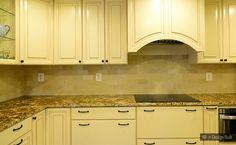 Beige Kitchen Cabinets Subway Marble Backsplash Tile - Backsplash.com | Kitchen Backsplash Products & Ideas