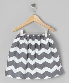 Look what I found on #zulily! Slate & White Zigzag Skirt - Toddler & Girls by Sew Plain Jane #zulilyfinds