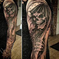Good start to this #grimreaper #sleeve today #tattoo #tattooed #tattooing #ink #inked #tattoos #tattoodesign #tattooart #tattooworkers #wip #art #workinprogress #design #drawing #skull #skulltattoo #reaper #grim #neotradsub #neotrad #neotraditional #newtraditional #uktattoo #uktta #uk