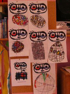 à la manière de Miro : le Mangeur de soleil Cute Art Projects, Classroom Art Projects, Art Classroom, Art Activities For Kids, Art For Kids, Tears Art, Third Grade Art, Art Postal, Kandinsky