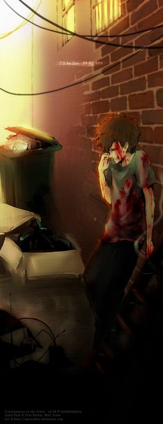 "(Open RP be anyone) I ran down the alley once I got the chance to get away from the cruel people, tears streaming down my face. I ran behind some boxes leaning against the wall. ""I'll be fine on my own.."" I whispered sliding down the wall. After awhile I looked up seeing you."