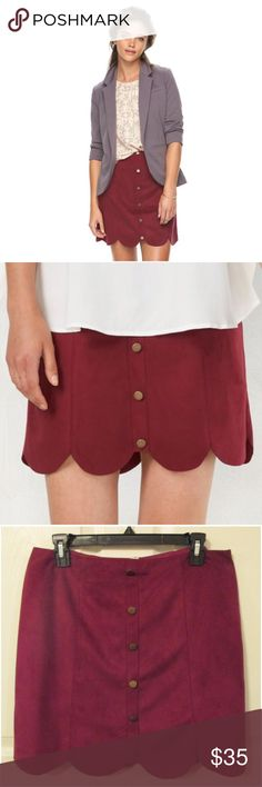 """LC LAUREN CONRAD Red Plum Faux-Suede Scallop Skirt LC LAUREN CONRAD red plum faux-suede scalloped lined skirt will set your style apart in this trendy skirt!  Buttons accents decorate the front Scalloped hem Faux-suede construction Lined 18-in. approximate length Side zipper with hook-and-eye closure Polyester Machine wash  *2 (13 1/2"""" waist) *6 (15"""" waist) *8 (15 1/2"""" waist) *10 (16"""" waist) *16 (18"""" waist)  CLOSET RULES: Bundle Discounts * No Trades * Smoke free * Reasonable offers through…"""