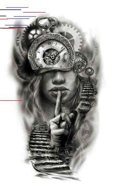 Clock face half sleeve custom tattoo design idea by Tattoo Tailors - Ostern Clo. - Clock face half sleeve custom tattoo design idea by Tattoo Tailors – Ostern Clock face half slee - Half Sleeve Tattoos Designs, Tattoos For Women Half Sleeve, Full Sleeve Tattoos, Tattoo Designs For Women, Leg Tattoos For Men, Leg Tattoo Men, Tattoo Half Sleeves, Back Tattoo Women Full, Arm Sleeve Tattoos For Women