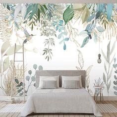 Plant Wallpaper, Photo Wallpaper, Wall Wallpaper, Bedroom Wallpaper Modern, Wallpaper For Walls, Leaves Wallpaper, Tropical Wallpaper, Wallpaper Wallpapers, Bedroom Murals