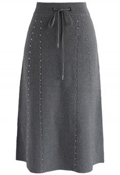 Gallant Embossed Knitted A-lined Skirt in Grey