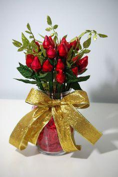 Red Hershey Rose Kisses - Two Dozen