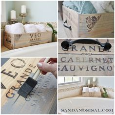 Upcycle a wine crate into a beautiful storage crate by adding hardware and aging it with stain. Click on link for full tutorial.