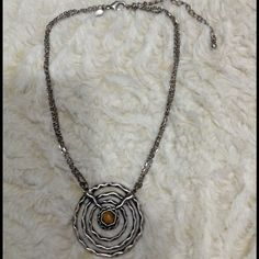 CHICO'S statement necklace! Silver, brown Silver and brown statement necklace from Chico's, good used condition. Thanks for looking! Chico's Jewelry Necklaces