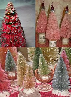 Homemade Christmas decorations - bottle brush artificial Christmas trees in shades of pink, blue and green! Pure magic!