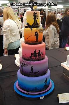 One of the coolest wedding cakes I've ever seen! Love how it tells a sweet little story!