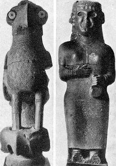 sacred owl + goddess (Tell Halaf - 6000BCE - Neolithic)