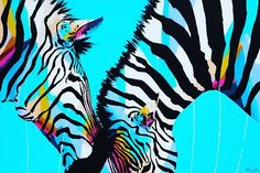 New double zebra painting. 'A Necessary Duality' 152cm x 102cm $3700. Store@anyabrock.com for enquiries. #anyabrock