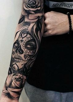 "Tattoo ""Sleeve"" for girls and boys - Tattoos - Tatouage Boy Tattoos, Trendy Tattoos, Life Tattoos, Body Art Tattoos, Tribal Tattoos, Tattoos For Guys, Tattoos For Women, Chicano Tattoos Sleeve, Girl Skull Tattoos"