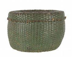 Decorative Objects Illustration Description Lidded and Lined Splint Basket in Green Paint, Late Century -Read