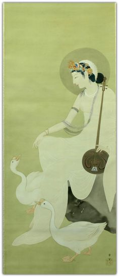 Kajita Hanko (Japanese, 1870–1917) | Benzaiten. Hanging scroll, ink and color on silk.  Benzaiten who is known as one of seven gods in Japan derives from Hindu goddess called Saraswati. Probably, this artwork was depicted after Saraswati rather than Benzaiten. The music instrument she holds in hand is a kind of lute called Vina. The bird like goose in the bottom of the screen is a sacred bird called Hamsa, giving a ride to Saraswati.