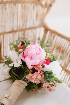 Pretty pink blooms: http://www.stylemepretty.com/destination-weddings/2015/10/07/romantic-costa-rica-destination-beach-wedding/ | Photography:  Jeff Sampson - http://www.jeffreysampson.com/