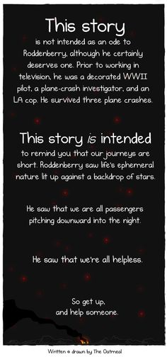 Gene Roddenberry's life-changing experience. Follow the link for the full story. <http://theoatmeal.com/comics/plane>