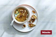 Milk Tart Crème Brûlée with Honey and Almond Brittle - Sarah Graham Food Delicious Desserts, Dessert Recipes, Yummy Food, Sweet Recipes, New Recipes, Graham Recipe, Sarah Graham, Almond Brittle, Milk Tart