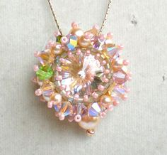 second piece for 2013: Rivoli Swarovski Crystals Pearls Pink Green by SpringColors, $30.00