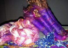 """This diy art yarn kit includes my own """"silky sunset"""" hand dyed mulberry silk lap, royal purple hand dyed fine alpaca, hand dyed assorted wool locks, bronze firestar and 100 periwinkle sequins. Use your favorite decorative thread to string the sequins and thread ply them, or you could auto wrap with decorative thread and sequins. The posibilities and combos are endless. Smoke free pet free home. Combined shipping available.   eBay!"""