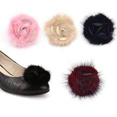 Black Fur Flower Shoe Clips Buckle Removable High Heel Elegant Women New 1 Pc   eBay