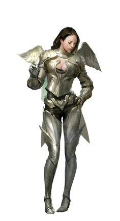 Female Paladin Knight in Angel Armor - Pathfinder PFRPG DND D&D d20 fantasy