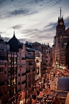 Madrid, Spain - Beginning of the night : such a beautiful city. It was busy from dusk til dawn. They never stop here. Best shopping the whole trip.