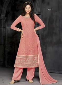 Dazzling Orange Viscose Polly Santoon Pakistani Suit http://www.angelnx.com/