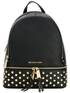 Michael Michael Kors Rhea Medium Studded Leather Backpack In Admiral Studded Backpack, Leather Laptop Backpack, Backpack Bags, Leather Backpacks, Black Backpack, Laptop Tote, Tote Bags, Michael Kors Rhea Backpack, Michael Kors Shoulder Bag