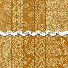 Digital Paper Sale Digital Paper Gold Damask by BaerDesignStudio