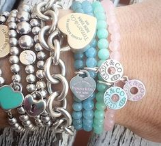 Pin by LV on Outfits in 2019 Tiffany Charm Bracelets, Tiffany And Co Jewelry, Tiffany Necklace, Kids Necklace, Pandora Jewelry, Pandora Bracelets, Fashion Bracelets, Fashion Jewelry, Piercings