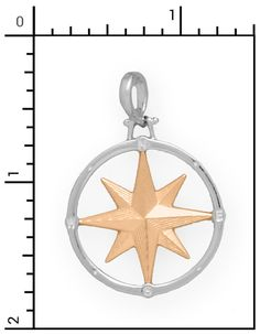Nautical Jewelry - 14Kt. Sterling Silver Compass Rose Charm, All Sterling Silver & Sterling / 14Kt. Combo Items, 15-14Kt/SS954