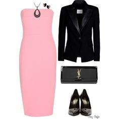 Simple Pink & Black by mcheffer on Polyvore featuring Victoria Beckham, Pierre Balmain, Yves Saint Laurent and David Yurman