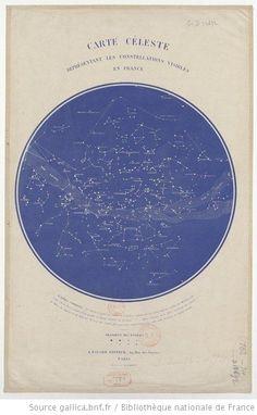 Carte céleste réprésentant les constellations visibles en France / Dessinée par R. Barbot - 1 EN http://gallica.bnf.fr/