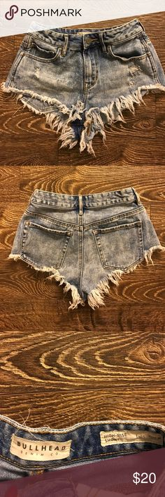 Bull head daisy duke denim shorts Super cute cheeky denim shorts, worn a few times but still like new Bullhead Shorts Jean Shorts