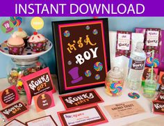 Have a Scrumdidilyumptious Baby Shower with this Willy Wonka inspired Party Printable collection. This collection includes everything you