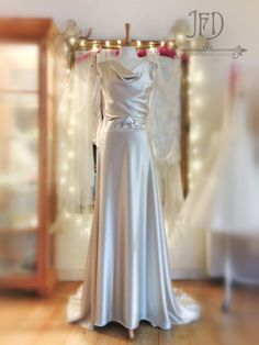 Oyster heavy silk satin 1930s inspired wedding dress with deco detailing