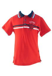 Red coloured T-shirt for boys by Nauti Nati. Made from cotton this T-Shirt has short sleeve, collar and comes with a regular fit.