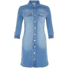 New Look Parisian Blue Denim Shirt Dress ($36) ❤ liked on Polyvore featuring dresses, blue, blue dress, blue day dress, blue shirt dress, shirt dress and new look dresses