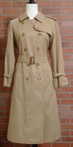 cb0b119ffc802 AUTHENTIC Vintage BURBERRY aka Burberrys  trench coat Khaki 10Petite   Burberry  Trench